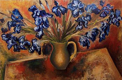Stil Life Painting - Irises by Vladimir Kezerashvili