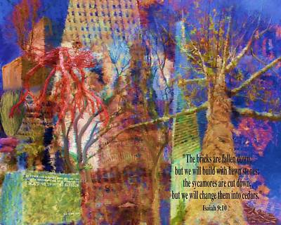 Tree Roots Painting - 911 Harbinger Isaiah 9 10  by Cindy Wright