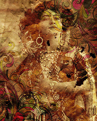 Abstract Digital Art Mixed Media - Winsome Woman by Chris Andruskiewicz