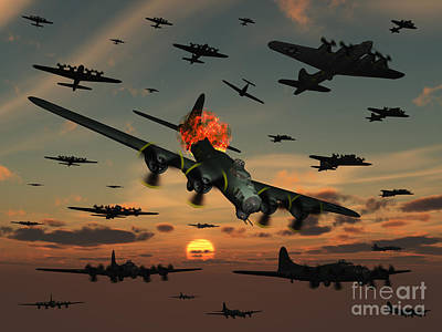 Digital Art - A B-17 Flying Fortress Is Set Ablaze by Mark Stevenson