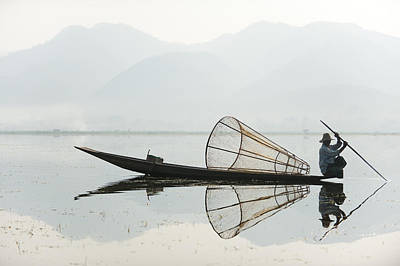 A Basket Fisherman Scans Inle Lake Art Print