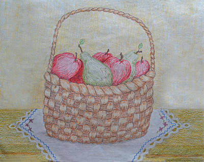 Drawing - A Basket Full  Original Colored Pencil by Debbie Portwood