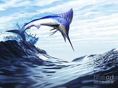 Wet On Wet Digital Art - A Beautiful Blue Marlin Bursts by Corey Ford
