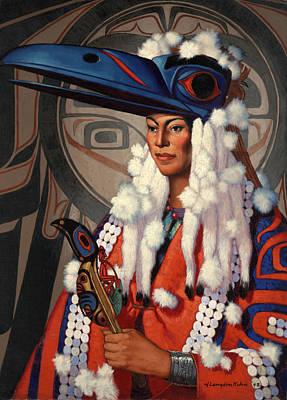 A Bellacoola Woman Wears A Raven Print by W. Langdon Kihn