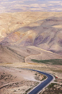 A Bend In A Desert Road Near Mount Nebo Art Print by Martin Child