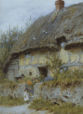Berkshires Painting - A Berkshire Cottage  by Helen Allingham