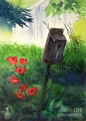 Art Print featuring the painting A Bird House In The Geddes Farm --ann Arbor Michigan by Yoshiko Mishina