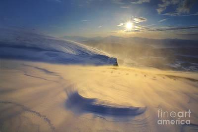 A Blizzard On Toviktinden Mountain Art Print by Arild Heitmann