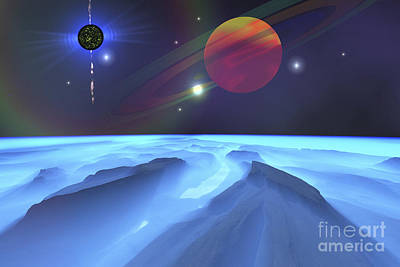 Digital Art - A Blue Fog Envelops The Mountains by Corey Ford
