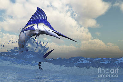 Wet On Wet Digital Art - A Blue Marlin Shows Off His Beautiful by Corey Ford