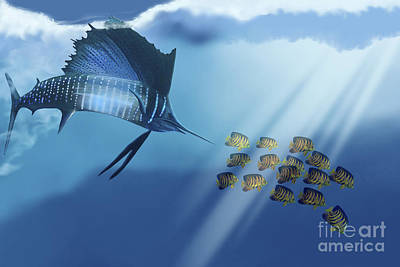 A Blue Marlin Swims After A School Art Print by Corey Ford