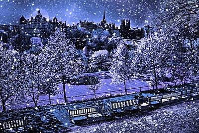 Digital Art - A Blue Night In Edinburgh by Carrie OBrien Sibley