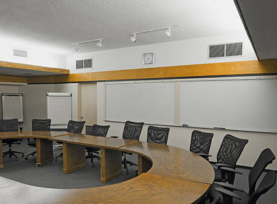 A Boardroom With An Oval Table Art Print by Marlene Ford