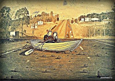 Insecurity Digital Art - A Boat That Navigate Far From The Sea With The Inseparable Loneliness by Paulo Zerbato
