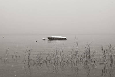 Lake Maggiore Photograph - A Boat With Snow by Joana Kruse