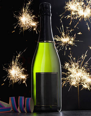 A Bottle Of Champagne And Sparklers Art Print