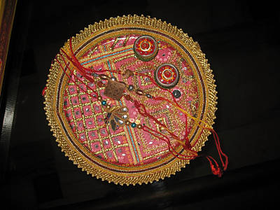 Art Print featuring the photograph A Bowl Of Rakhis In A Decorated Dish by Ashish Agarwal
