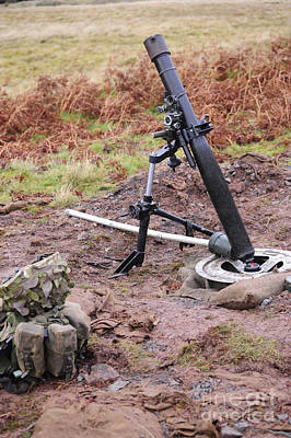 Foreign Military Photograph - A British L16a2 81mm Mortar Tube by Andrew Chittock