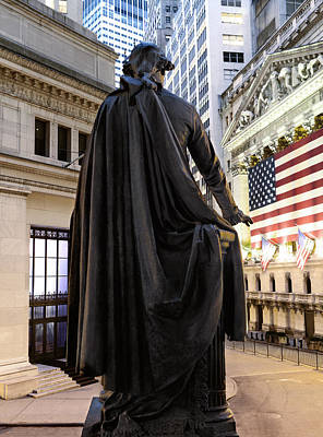 Flag Draped Photograph - A Bronze Statue Of George Washington by Justin Guariglia
