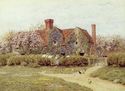 Wisteria Painting - A Buckinghamshire House At Penstreet by Helen Allingham