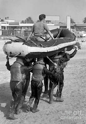 Inflatable Boats Photograph - A Buds 1st Phase Boat Crew Carry An by Michael Wood