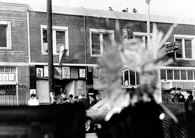 A Bullet Hole In A Storefront Window Art Print