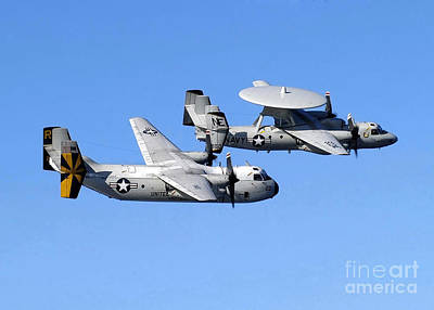C-2 Greyhound Photograph - A C-2a Greyhound And A E-2c Hawkeye by Stocktrek Images