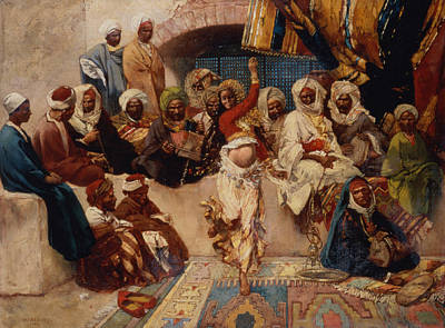 Hookah Painting - A Captive Audience by Charles Auguste Loye