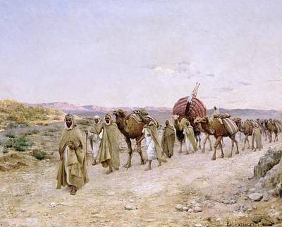 Silk Painting - A Caravan Near Biskra by PJB Lazerges