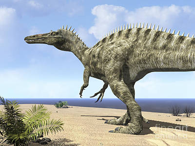 Snout Digital Art - A Carnivorous Suchomimus Wanders by Walter Myers
