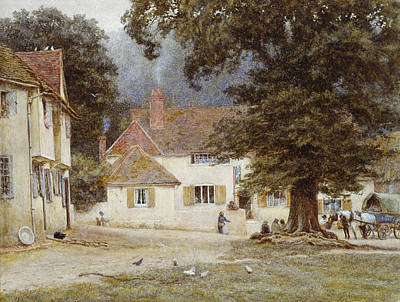 Chicken Painting - A Cart By A Village Inn by Helen Allingham