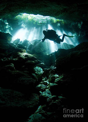 Cenote Photograph - A Cavern Diver Enters The Taj Mahal by Karen Doody