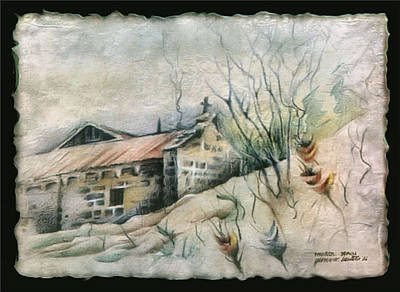 Drawing - A Chapel In Muros 1982 by Glenn Bautista