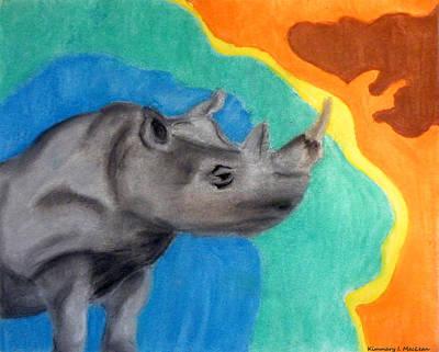 Drawing - A Cheerful Rhino by Kimmary MacLean