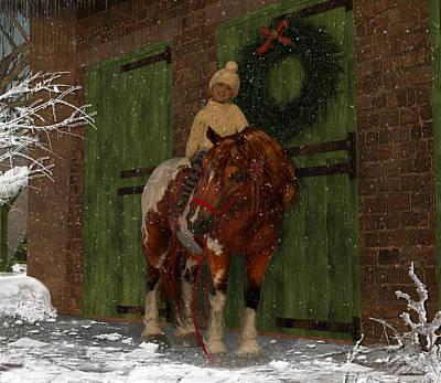 A Christmas Pony Art Print by Heather Douglas