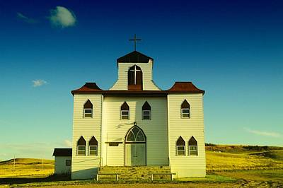 Church And School In Bainville Montana Art Print by Jeff Swan