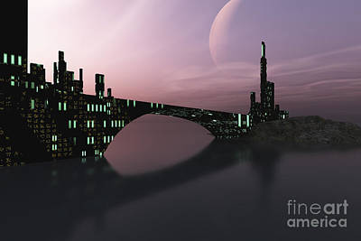 A City Is Reflected In Calm Waters Art Print