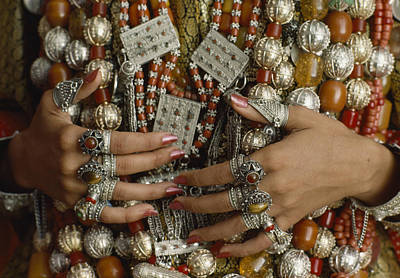 Coral Necklace Photograph - A Close-up Of A Brides Hands Displays by James L. Stanfield