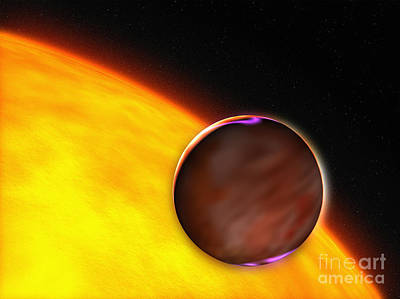 Extrasolar Planet Digital Art - A Close-up Of An Extrasolar Planet by Stocktrek Images