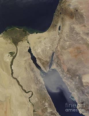 A Cloud Of Tan Dust From Saudi Arabia Art Print by Stocktrek Images