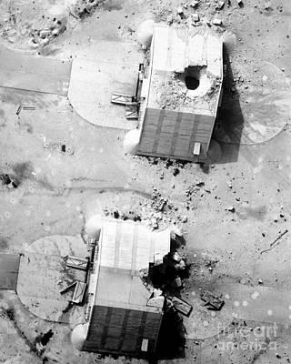 A Coalition Bombing Of Aircraft Hangers Art Print