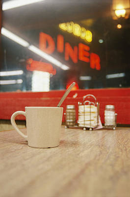 A Coffee Cup And A Diner Sign Spell Art Print