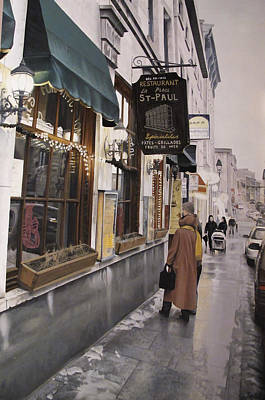 Montreal Buildings Painting - A Cold Day In Montreal by Zoran Rnjak