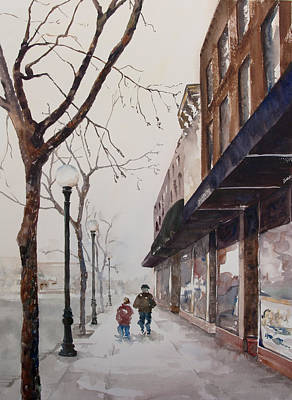 City Scape Painting - A Cold Day On The Square by Amy Caltry