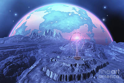 Urban Canyon Digital Art - A Colony On An Alien Moon by Corey Ford