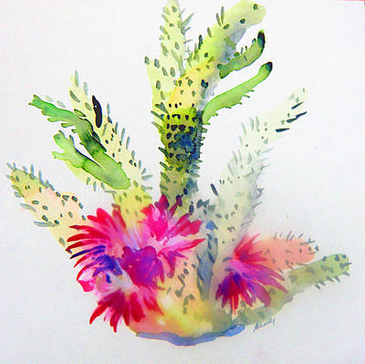California Watercolor Artists Painting - A Colorful Cactus by Mindy Newman