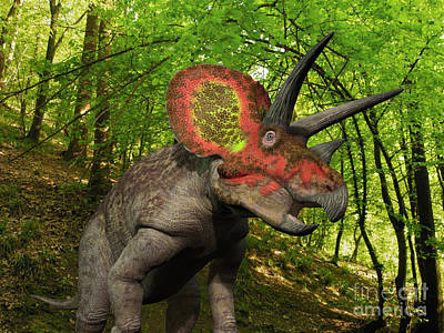 A Colorful Triceratops Wanders Art Print by Walter Myers