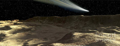 Mountainous Digital Art - A Comet Passes Over The Surface by Ron Miller