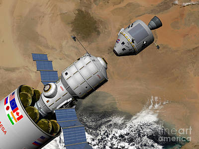 Digital Art - A Command Module Prepares To Dock by Walter Myers