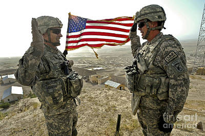 A Commander Re-enlists Master Sergeant Art Print by Stocktrek Images